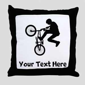 BMX Rider Silhouette Throw Pillow